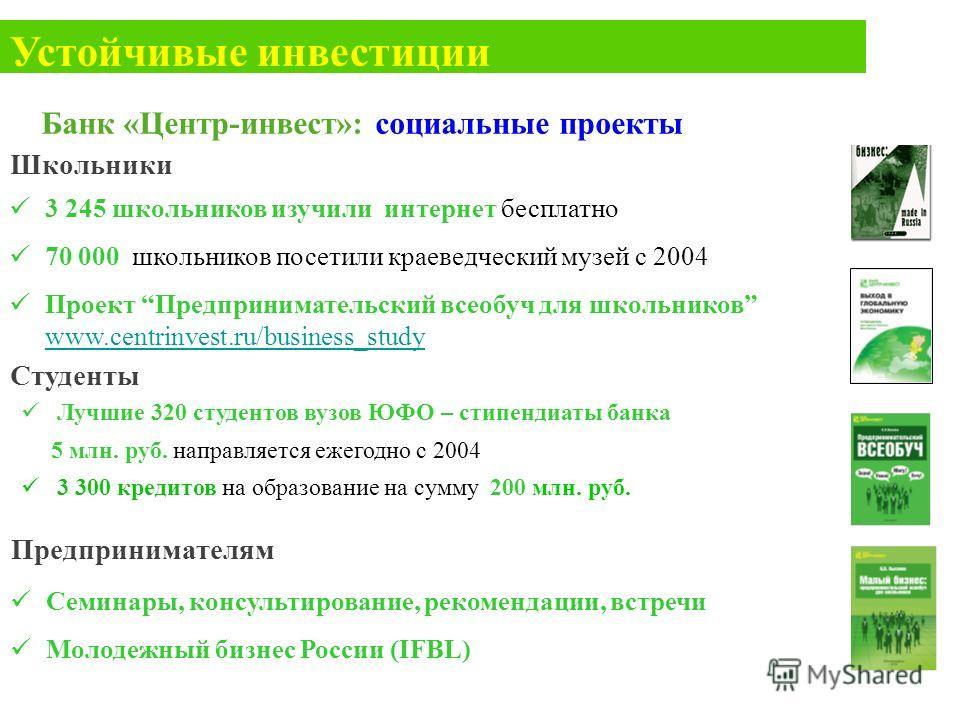 3 245 школьников изучили интернет бесплатно 70 000 школьников посетили краеведческий музей с 2004 Проект Предпринимательский всеобуч для школьников www.centrinvest.ru/business_study www.centrinvest.ru/business_study Школьники Студенты Лучшие 320 студ