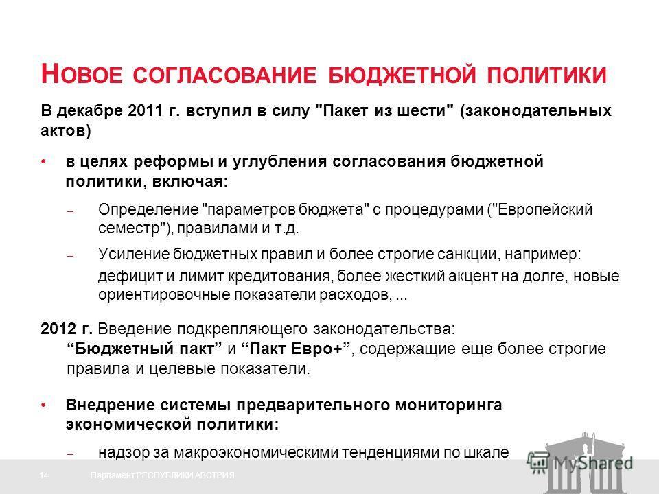14Парламент РЕСПУБЛИКИ АВСТРИЯ Н ОВОЕ СОГЛАСОВАНИЕ БЮДЖЕТНОЙ ПОЛИТИКИ В декабре 2011 г. вступил в силу
