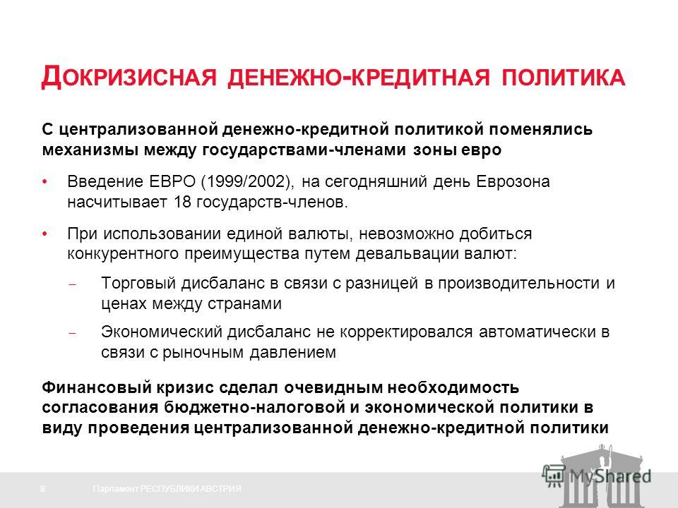 8Парламент РЕСПУБЛИКИ АВСТРИЯ Д ОКРИЗИСНАЯ ДЕНЕЖНО - КРЕДИТНАЯ ПОЛИТИКА С централизованной денежно-кредитной политикой поменялись механизмы между государствами-членами зоны евро Введение ЕВРО (1999/2002), на сегодняшний день Еврозона насчитывает 18 г