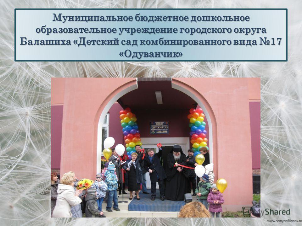 Муниципальное бюджетное дошкольное образовательное учреждение городского округа Балашиха «Детский сад комбинированного вида 17 «Одуванчик»