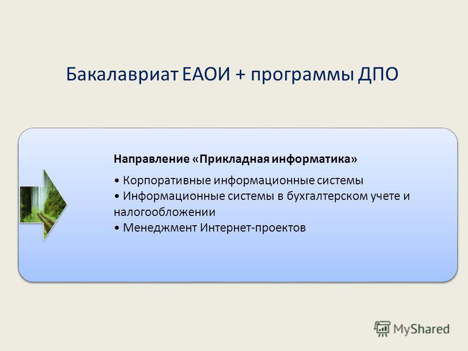 Направление «Прикладная информатика» Корпоративные информационные системы Информационные системы в бухгалтерском учете и налогообложении Менеджмент Интернет-проектов Бакалавриат ЕАОИ + программы ДПО