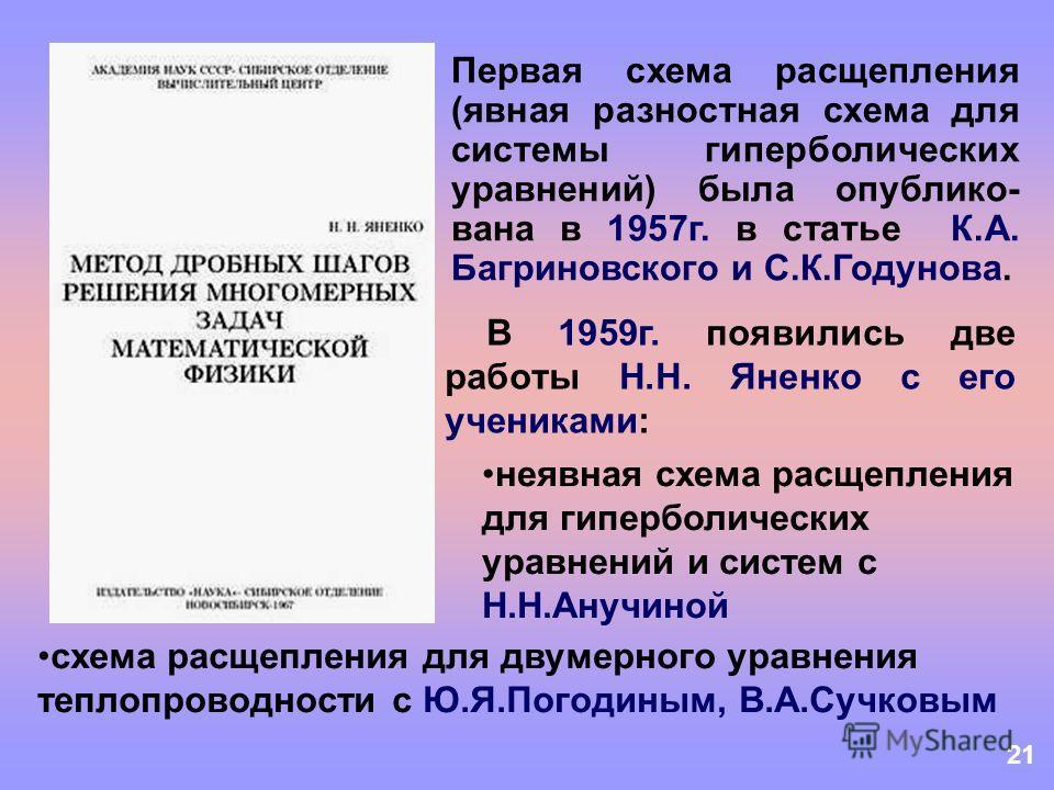 21 Первая схема расщепления (явная разностная схема для системы гиперболических уравнений) была опублико- вана в 1957г. в статье К.А. Багриновского и С.К.Годунова. В 1959г. появились две работы Н.Н. Яненко с его учениками: неявная схема расщепления д
