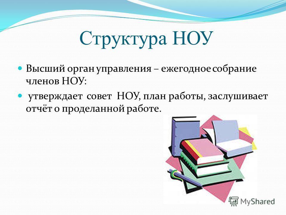 Структура НОУ Высший орган управления – ежегодное собрание членов НОУ: утверждает совет НОУ, план работы, заслушивает отчёт о проделанной работе.