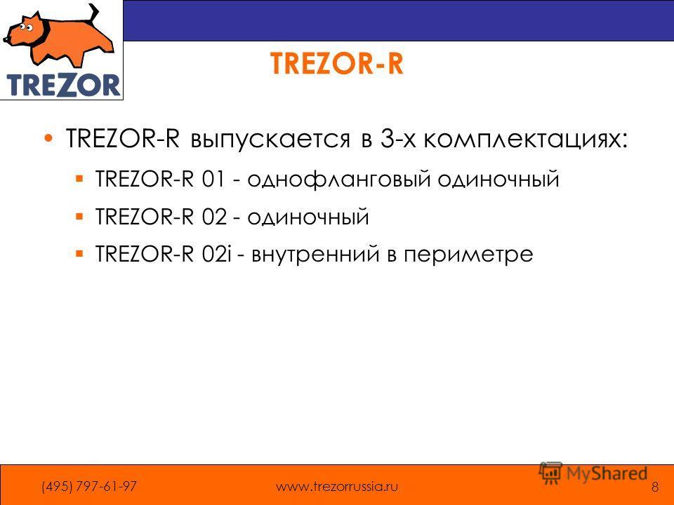 (495) 797-61-97www.trezorrussia.ru 8 TREZOR-R TREZOR-R выпускается в 3-х комплектациях: TREZOR-R 01 - однофланговый одиночный TREZOR-R 02 - одиночный TREZOR-R 02i - внутренний в периметре