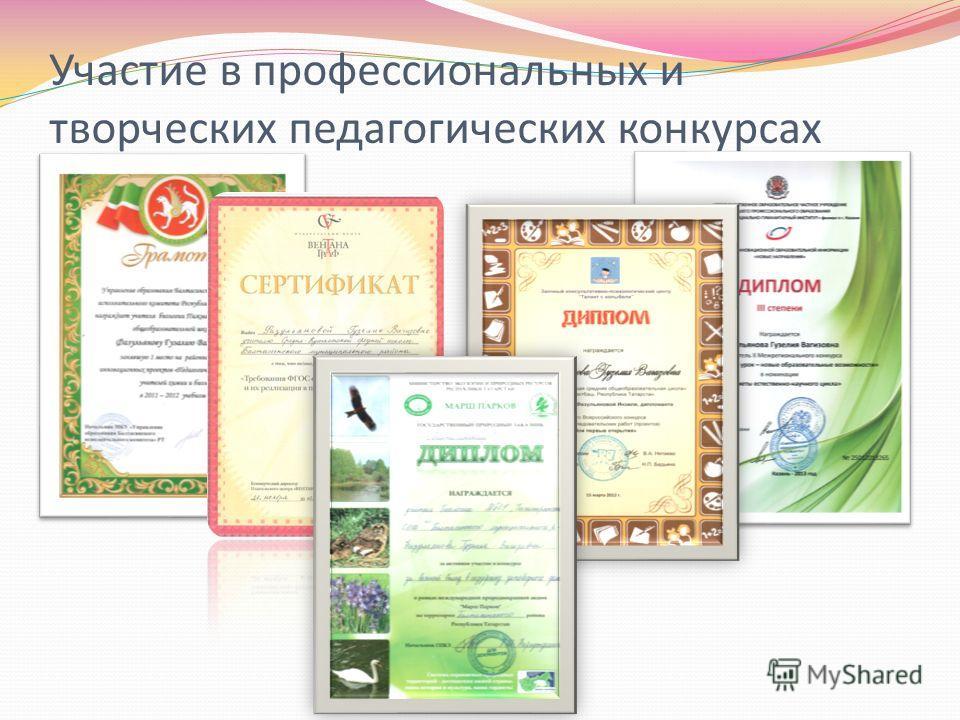 Участие в профессиональных и творческих педагогических конкурсах