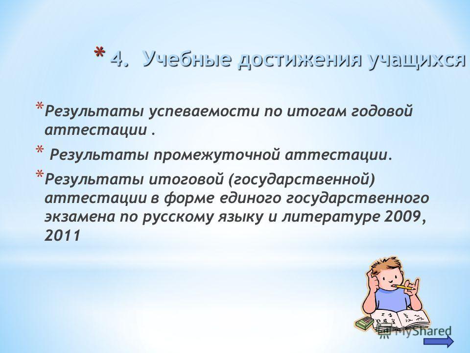 * 4. Учебные достижения учащихся * Результаты успеваемости по итогам годовой аттестации. * Результаты промежуточной аттестации. * Результаты итоговой (государственной) аттестации в форме единого государственного экзамена по русскому языку и литератур