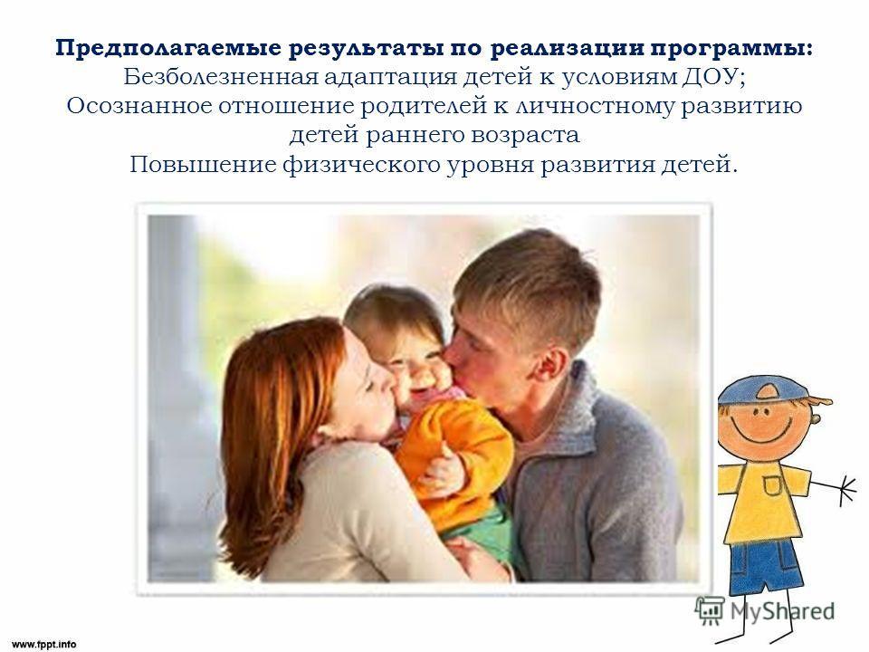 Предполагаемые результаты по реализации программы: Безболезненная адаптация детей к условиям ДОУ; Осознанное отношение родителей к личностному развитию детей раннего возраста Повышение физического уровня развития детей.