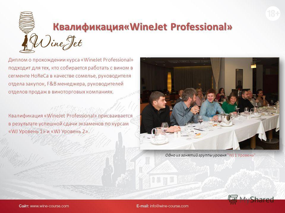 Квалификация«WineJet Professional» Диплом о прохождении курса «WineJet Professional» подходит для тех, кто собирается работать с вином в сегменте HoReCa в качестве сомелье, руководителя отдела закупок, F&B менеджера, руководителей отделов продаж в ви