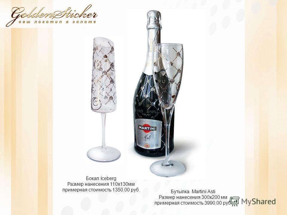 Бутылка Martini Asti Размер нанесения 300x200 мм примерная стоимость 3990,00 руб. Бокал Iceberg Размер нанесения 110x130мм примерная стоимость 1350,00 руб.