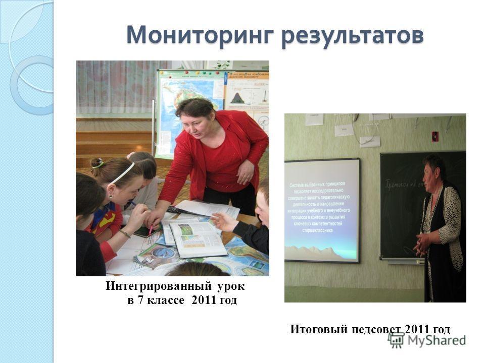Мониторинг результатов Итоговый педсовет 2011 год Интегрированный урок в 7 классе 2011 год