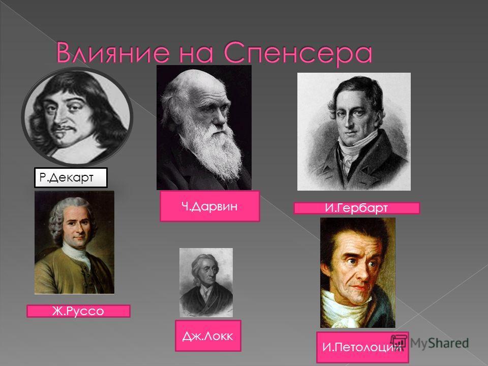 Ч.Дарвин Р.Декарт Дж.Локк И.Гербарт Ж.Руссо И.Петолоции
