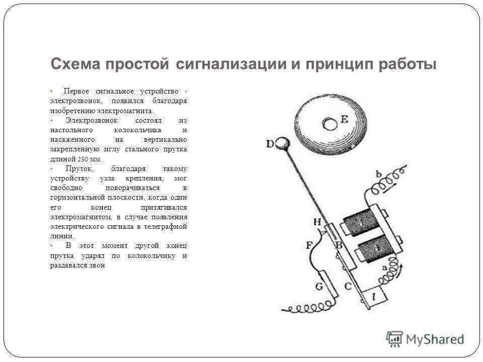Схема простой сигнализации и принцип работы Первое сигнальное устройство - электрозвонок, появился благодаря изобретению электромагнита. Электрозвонок состоял из настольного колокольчика и насаженного на вертикально закрепленную иглу стального прутка