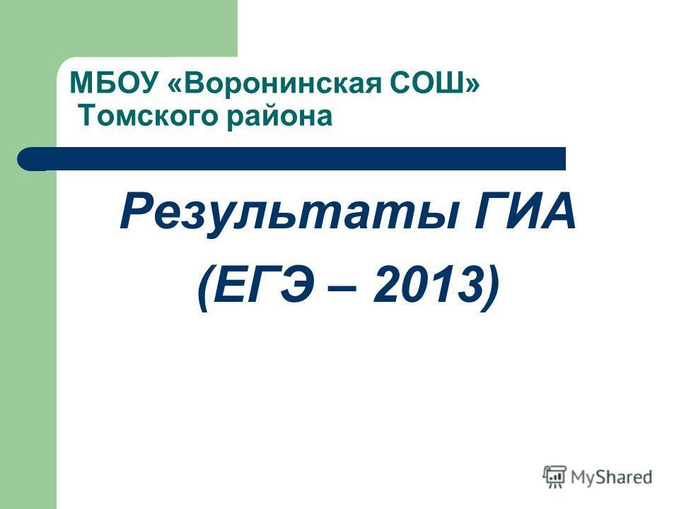 МБОУ «Воронинская СОШ» Томского района Результаты ГИА (ЕГЭ – 2013)
