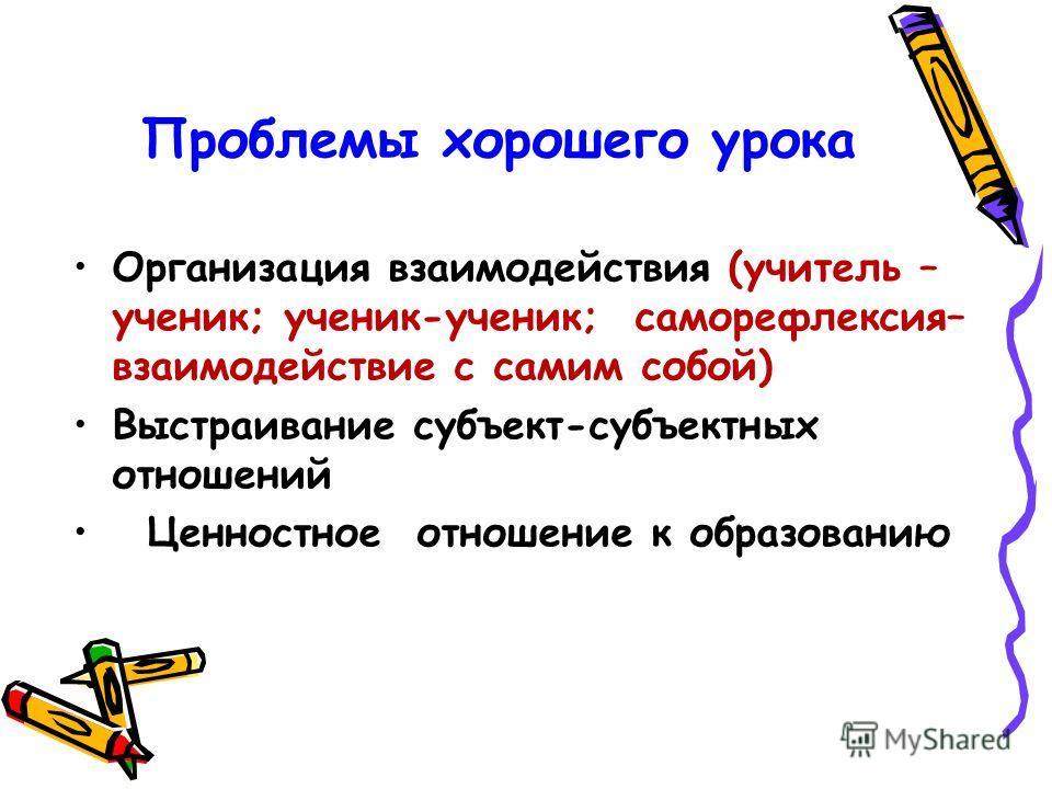 Проблемы хорошего урока Организация взаимодействия (учитель – ученик; ученик-ученик; саморефлексия– взаимодействие с самим собой) Выстраивание субъект-субъектных отношений Ценностное отношение к образованию