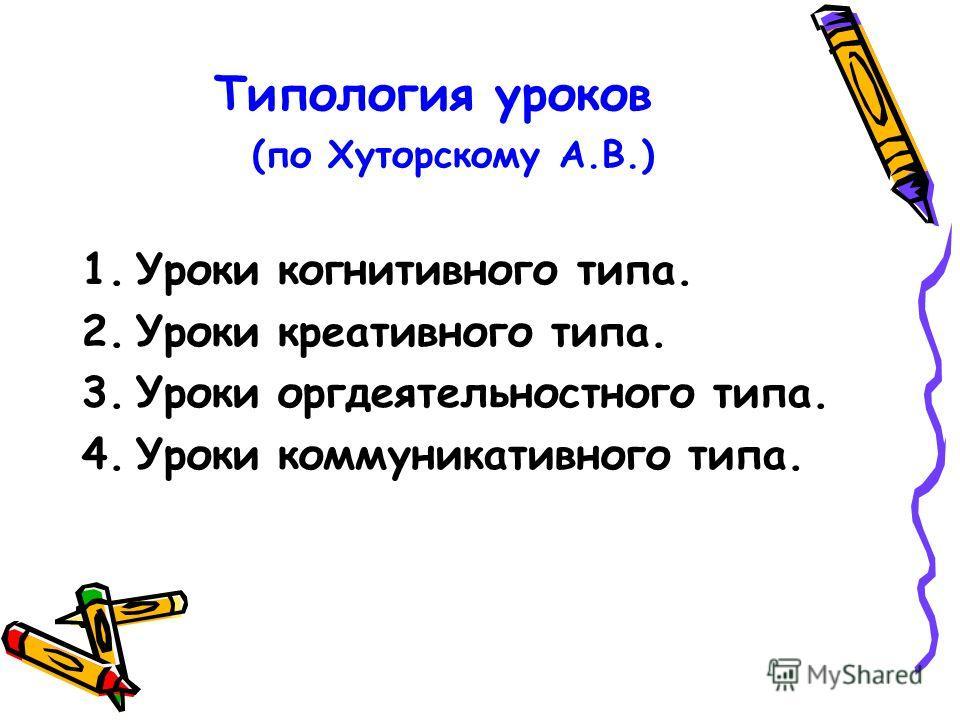 Типология уроков (по Хуторскому А.В.) 1.Уроки когнитивного типа. 2.Уроки креативного типа. 3.Уроки оргдеятельностного типа. 4.Уроки коммуникативного типа.