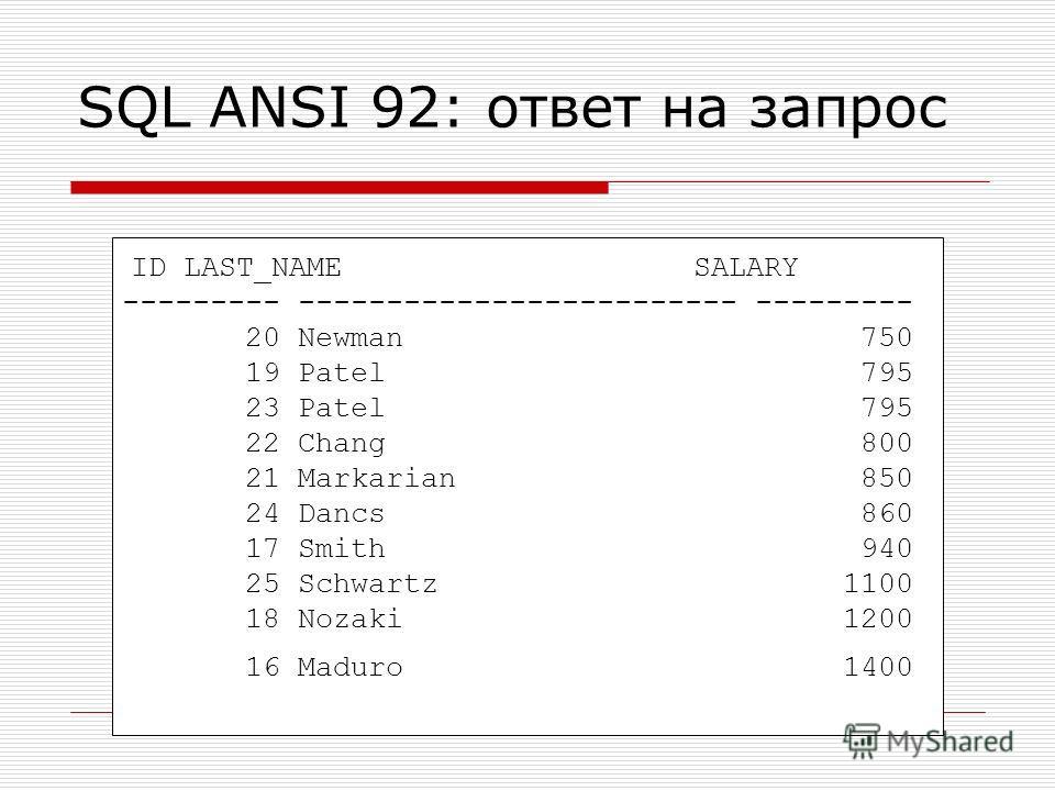 ID LAST_NAME SALARY --------- ------------------------- --------- 20 Newman 750 19 Patel 795 23 Patel 795 22 Chang 800 21 Markarian 850 24 Dancs 860 17 Smith 940 25 Schwartz 1100 18 Nozaki 1200 16 Maduro 1400 SQL ANSI 92: ответ на запрос