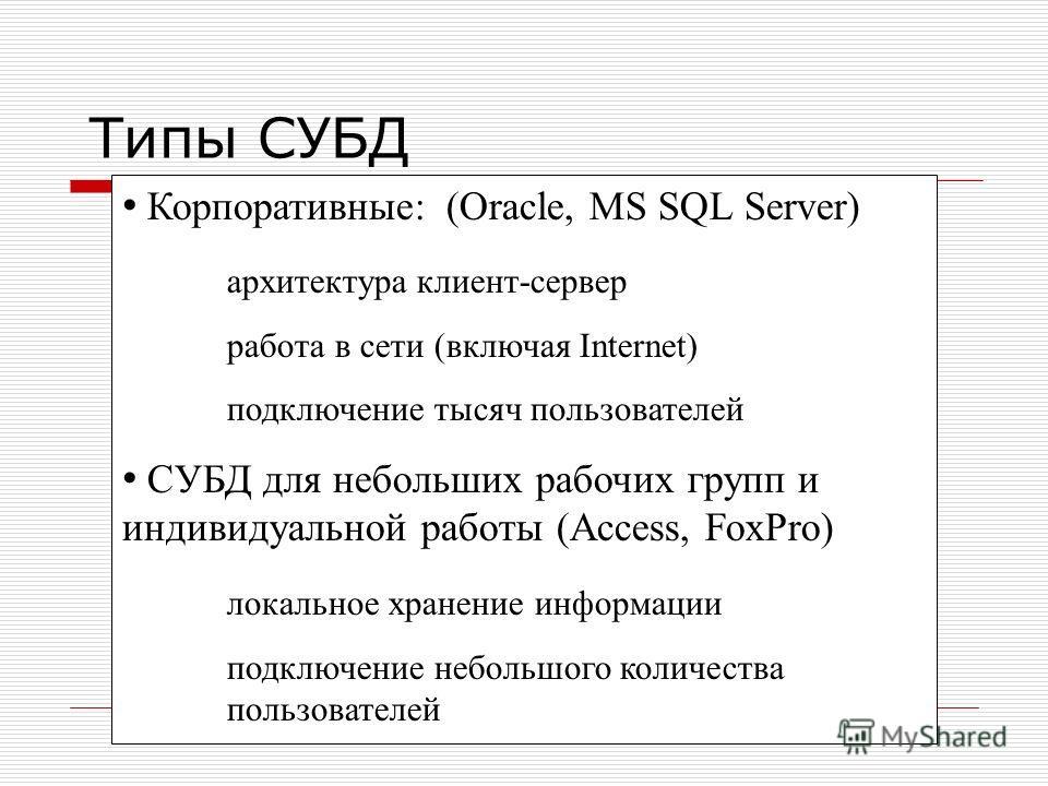 Типы СУБД Корпоративные: (Oracle, MS SQL Server) архитектура клиент-сервер работа в сети (включая Internet) подключение тысяч пользователей СУБД для небольших рабочих групп и индивидуальной работы (Access, FoxPro) локальное хранение информации подклю