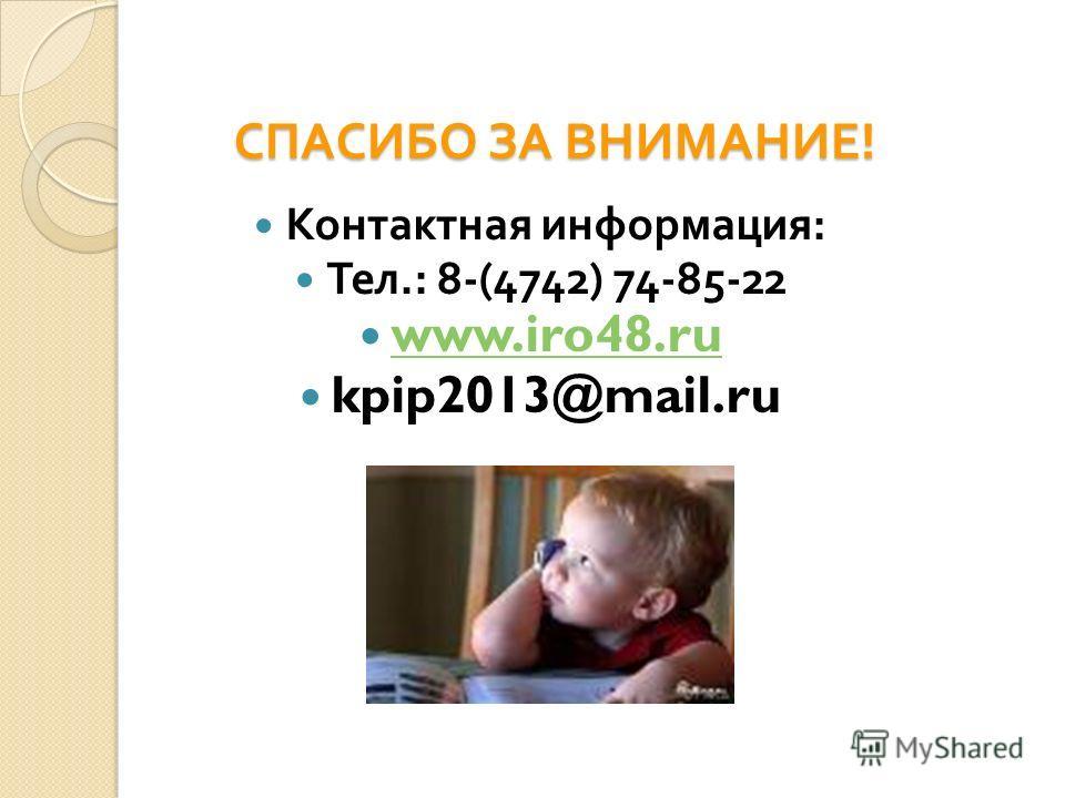 СПАСИБО ЗА ВНИМАНИЕ ! Контактная информация : Тел.: 8-(4742) 74-85-22 www.iro48.ru kpip2013@mail.ru