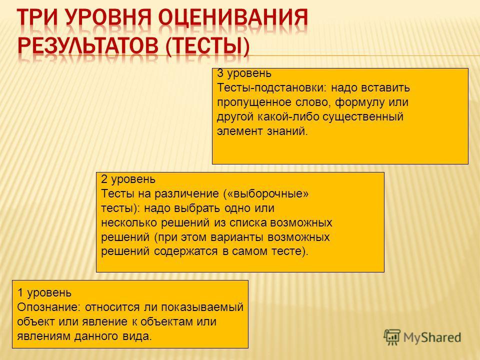1 уровень Опознание: относится ли показываемый объект или явление к объектам или явлениям данного вида. 2 уровень Тесты на различение («выборочные» тесты): надо выбрать одно или несколько решений из списка возможных решений (при этом варианты возможн