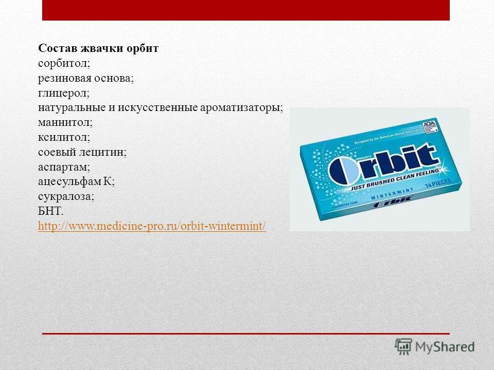 Состав жвачки орбит сорбитол; резиновая основа; глицерол; натуральные и искусственные ароматизаторы; маннитол; ксилитол; соевый лецитин; аспартам; ацесульфам К; сукралоза; БНТ. http://www.medicine-pro.ru/orbit-wintermint/