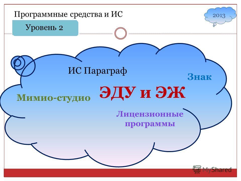 Уровень 2 Программные средства и ИС ИС Параграф Знак ЭДУ и ЭЖ Мимио-студио Лицензионные программы 2013