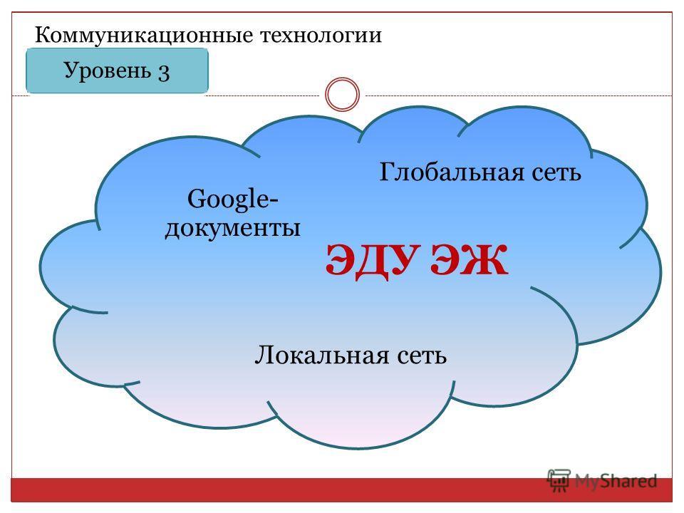 Уровень 3 Коммуникационные технологии ЭДУ ЭЖ Google- документы Глобальная сеть Локальная сеть
