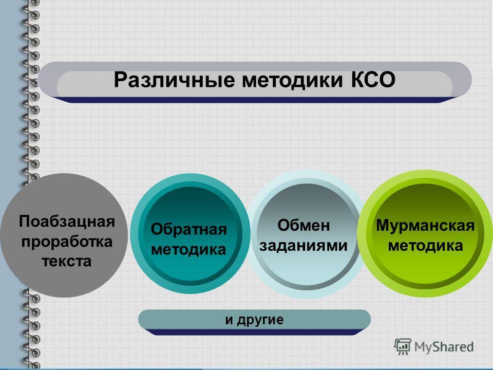 Различные методики КСО Поабзацная проработка текста Обмен заданиями Обратная методика Мурманская методика и другие