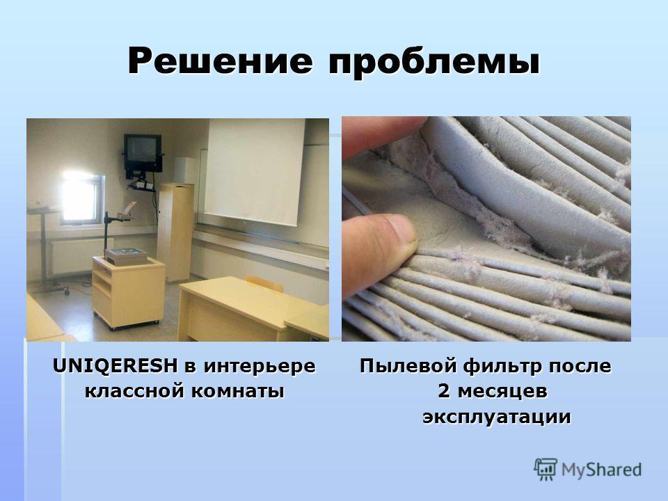 Решение проблемы UNIQERESH в интерьере Пылевой фильтр после UNIQERESH в интерьере Пылевой фильтр после классной комнаты 2 месяцев классной комнаты 2 месяцев эксплуатации
