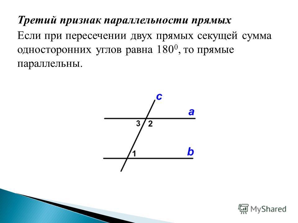Третий признак параллельности прямых Если при пересечении двух прямых секущей сумма односторонних углов равна 180 0, то прямые параллельны.