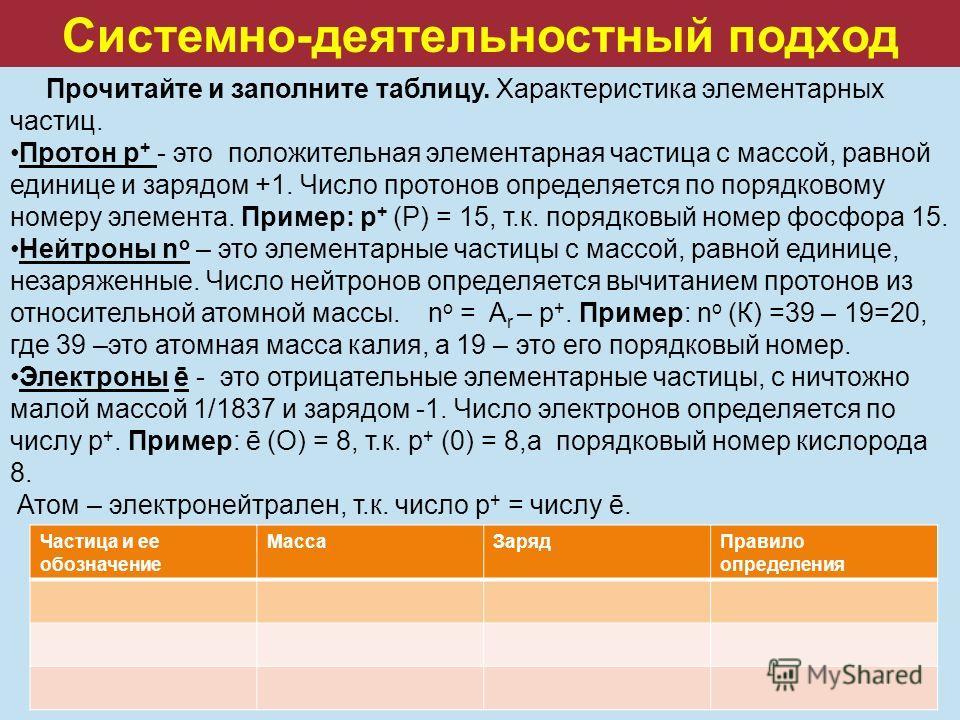 Системно-деятельностный подход Прочитайте и заполните таблицу. Характеристика элементарных частиц. Протон р + - это положительная элементарная частица с массой, равной единице и зарядом +1. Число протонов определяется по порядковому номеру элемента.