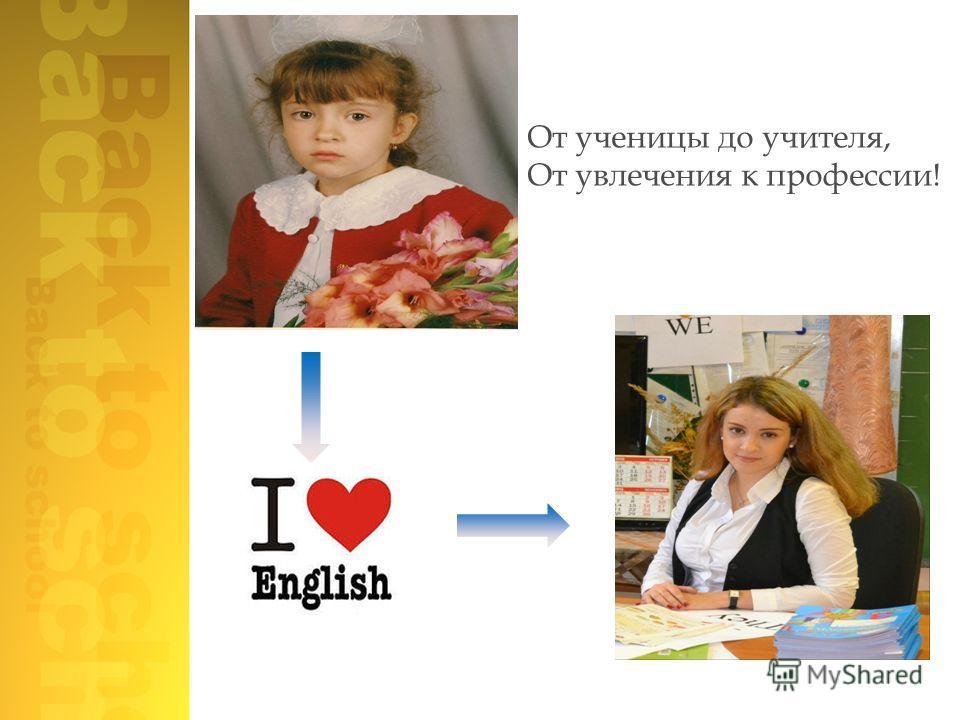От ученицы до учителя, От увлечения к профессии!