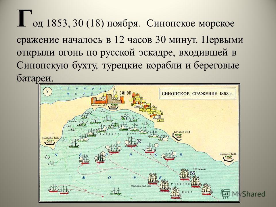 Г од 1853, 30 (18) ноября. Синопское морское сражение началось в 12 часов 30 минут. Первыми открыли огонь по русской эскадре, входившей в Синопскую бухту, турецкие корабли и береговые батареи.