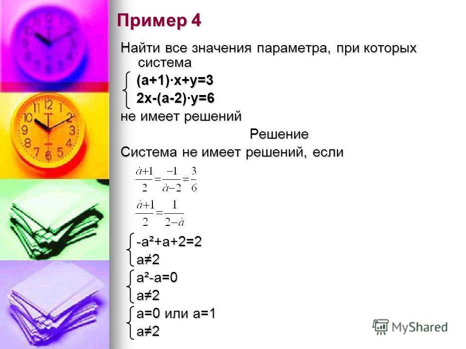Пример 4 Найти все значения параметра, при которых система (а+1)·х+у=3 (а+1)·х+у=3 2х-(а-2)·у=6 2х-(а-2)·у=6 не имеет решений Решение Система не имеет решений, если -а²+а+2=2 -а²+а+2=2 а2 а2 а²-а=0 а²-а=0 а2 а2 а=0 или а=1 а=0 или а=1 а2 а2