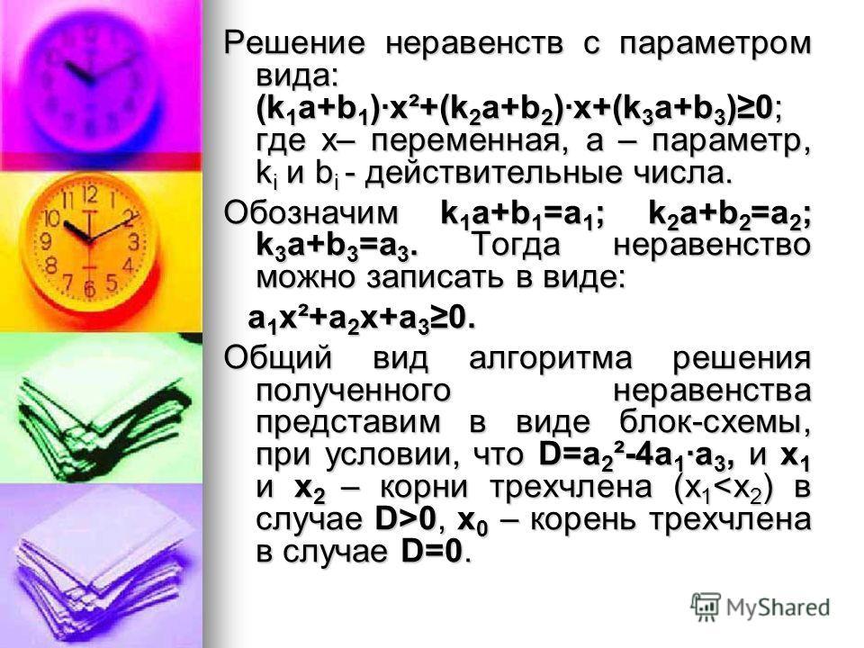 Решение неравенств с параметром вида: (k 1 a+b 1 )·x²+(k 2 a+b 2 )·x+(k 3 a+b 3 )0; где х– переменная, а – параметр, k i и b i - действительные числа. Обозначим k 1 a+b 1 =а 1 ; k 2 a+b 2 =а 2 ; k 3 a+b 3 =а 3. Тогда неравенство можно записать в виде