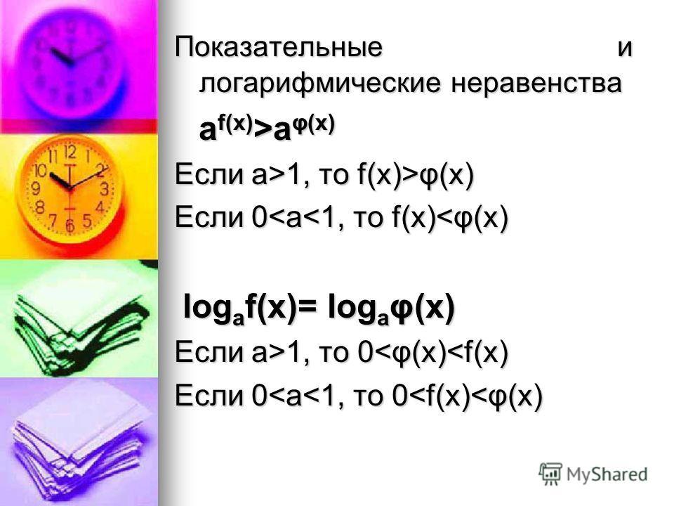 Показательные и логарифмические неравенства а f(x) >a φ(x) а f(x) >a φ(x) Если a>1, то f(x)>φ(x) Если 0