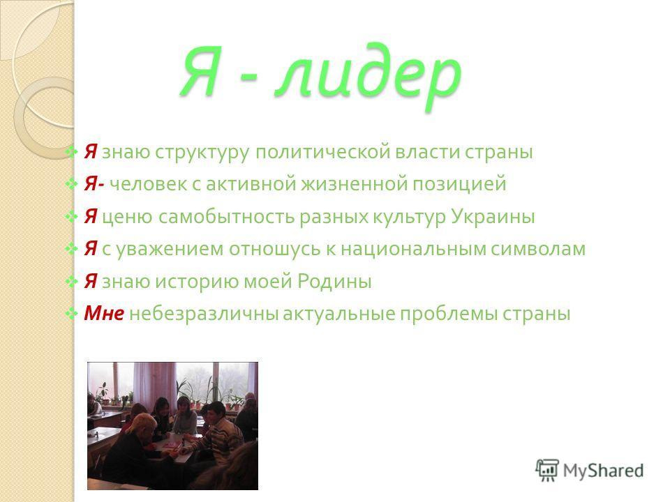 Я - лидер Я - лидер Я знаю структуру политической власти страны Я - человек с активной жизненной позицией Я ценю самобытность разных культур Украины Я с уважением отношусь к национальным символам Я знаю историю моей Родины Мне небезразличны актуальны