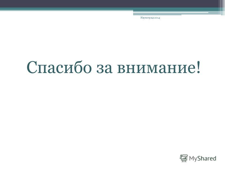 Спасибо за внимание! Наукоград 2014