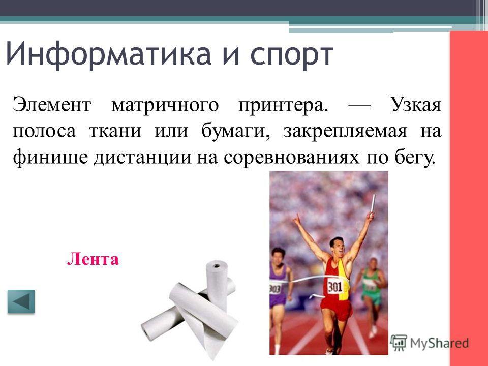 Информатика и спорт Синоним понятия оператор в программе. Спортивный коллектив. Команда