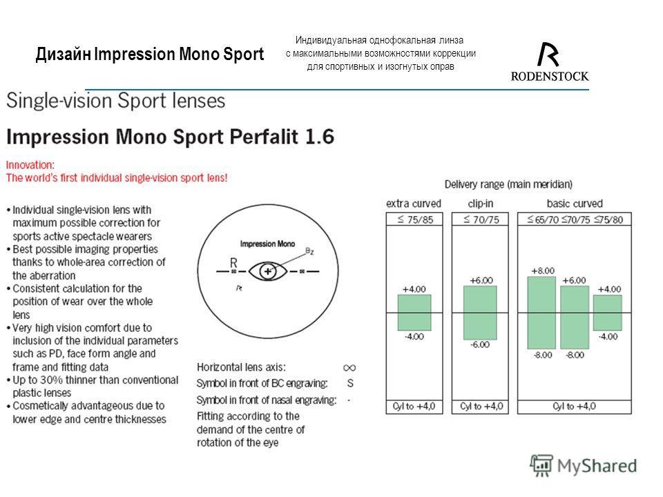 Дизайн Impression Mono Sport Индивидуальная однофокальная линза с максимальными возможностями коррекции для спортивных и изогнутых оправ