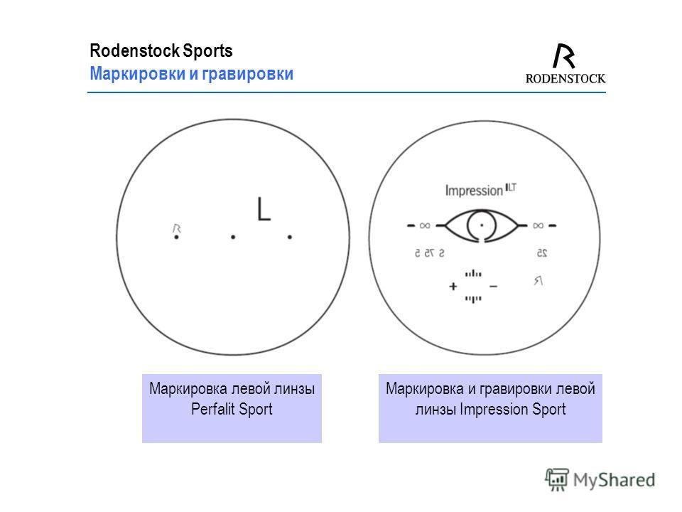 Rodenstock Sports Маркировки и гравировки Маркировка левой линзы Perfalit Sport Маркировка и гравировки левой линзы Impression Sport