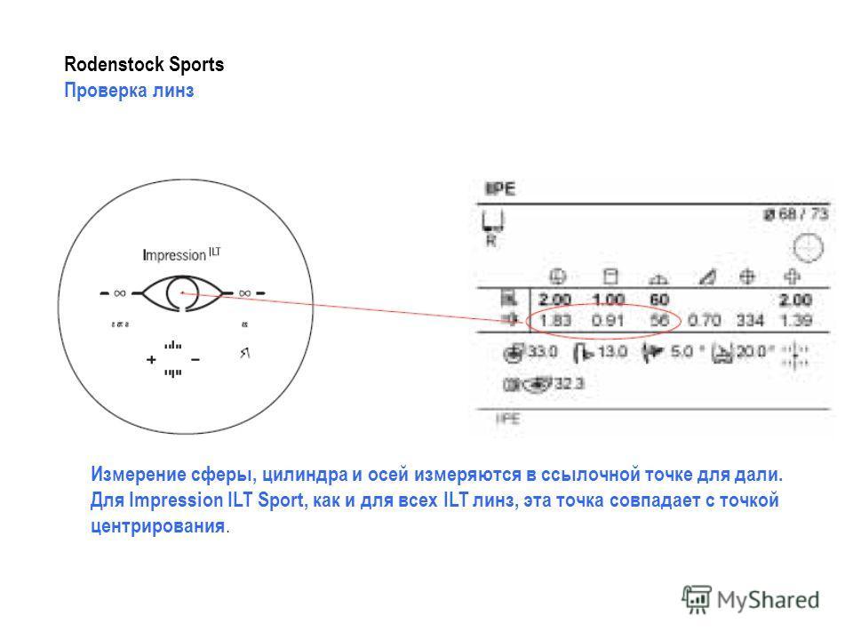 Rodenstock Sports Проверка линз Измерение сферы, цилиндра и осей измеряются в ссылочной точке для дали. Для Impression ILT Sport, как и для всех ILT линз, эта точка совпадает с точкой центрирования.