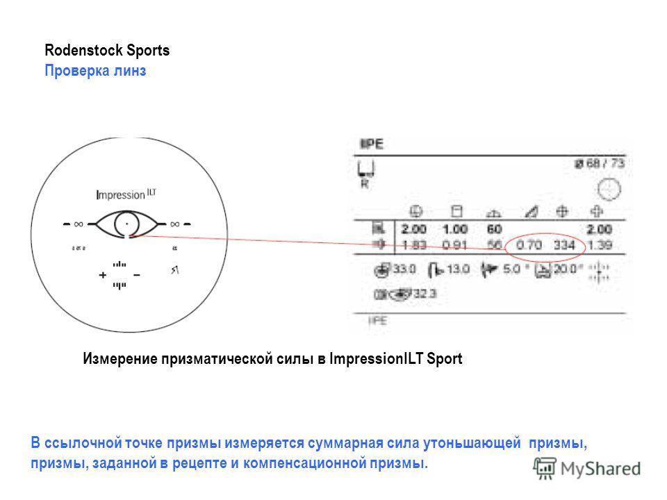 Измерение призматической силы в ImpressionILT Sport В ссылочной точке призмы измеряется суммарная сила утоньшающей призмы, призмы, заданной в рецепте и компенсационной призмы. Rodenstock Sports Проверка линз