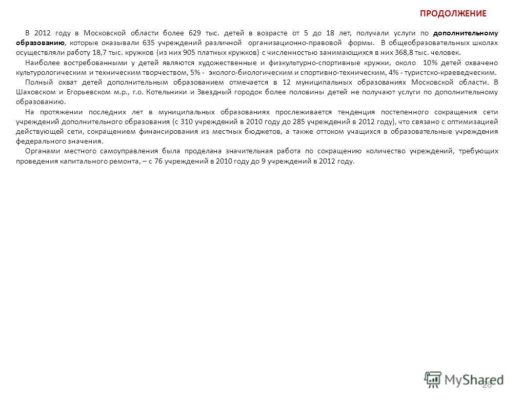 ПРОДОЛЖЕНИЕ 28 В 2012 году в Московской области более 629 тыс. детей в возрасте от 5 до 18 лет, получали услуги по дополнительному образованию, которые оказывали 635 учреждений различной организационно-правовой формы. В общеобразовательных школах осу