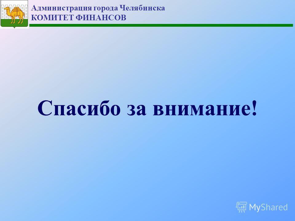 Администрация города Челябинска КОМИТЕТ ФИНАНСОВ Спасибо за внимание!