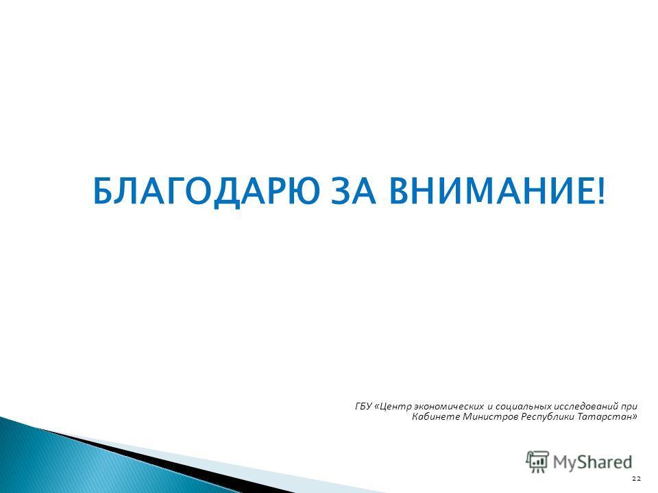 БЛАГОДАРЮ ЗА ВНИМАНИЕ! 22 ГБУ «Центр экономических и социальных исследований при Кабинете Министров Республики Татарстан»