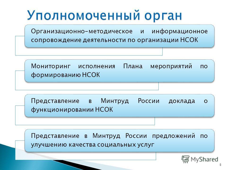 8 Организационно-методическое и информационное сопровождение деятельности по организации НСОК Мониторинг исполнения Плана мероприятий по формированию НСОК Представление в Минтруд России доклада о функционировании НСОК Представление в Минтруд России п