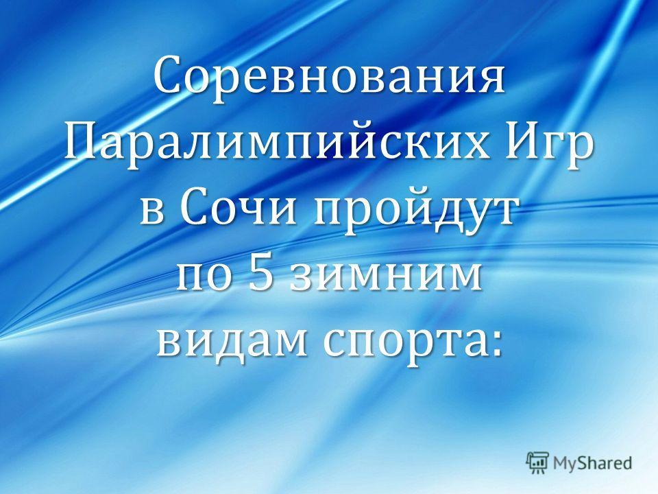 Соревнования Паралимпийских Игр в Сочи пройдут по 5 зимним видам спорта: