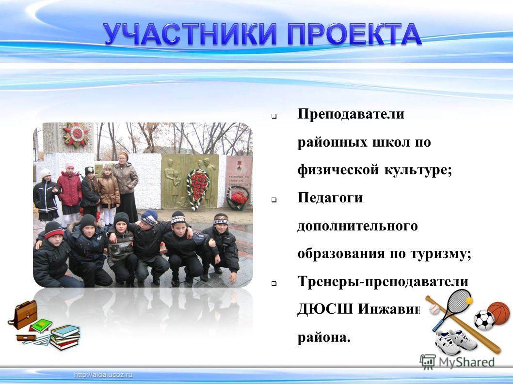 Преподаватели районных школ по физической культуре; Педагоги дополнительного образования по туризму; Тренеры-преподаватели ДЮСШ Инжавинского района.
