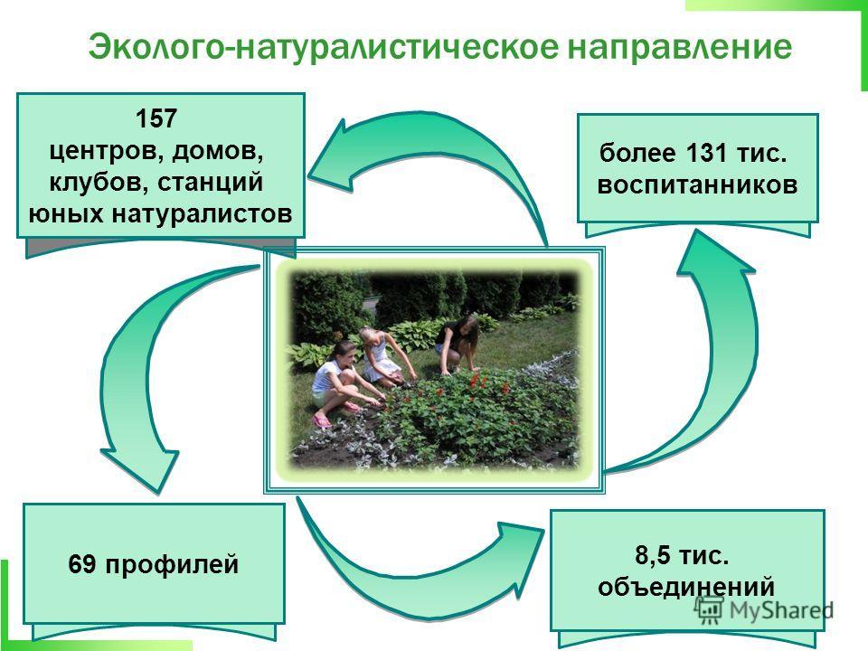 157 центров, домов, клубов, станций юных натуралистов более 131 тис. воспитанников 69 профилей 8,5 тис. объединений Эколого-натуралистическое направление