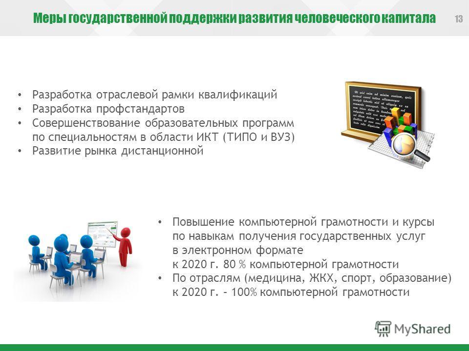 Меры государственной поддержки развития человеческого капитала 13 Повышение компьютерной грамотности и курсы по навыкам получения государственных услуг в электронном формате к 2020 г. 80 % компьютерной грамотности По отраслям (медицина, ЖКХ, спорт, о